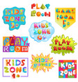 game room kids playroom banner in cartoon vector image vector image