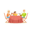 grandmother grandfather and grandson having lunch vector image vector image