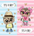 greeting card with cute owls boy and girl vector image vector image