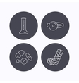 Gypsum lab beaker and medical pills icons vector image