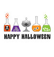 halloween typography with spooky lab bottles vector image vector image