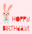 happy birthday card bunny cute vector image