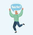 happy man is jumping vector image