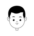head face boy smiling character line vector image vector image