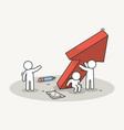 little white people raise a red chart arrow vector image