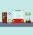 living room with red sofa bookcase torchere vector image vector image