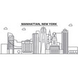 manhattan new york architecture line skyline vector image vector image