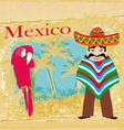 Mexican typical man and colorful parrot vector image vector image