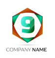 number nine logo symbol in the colorful hexagonal vector image vector image