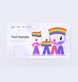 people holding lgbt rainbow flags gay lesbian love vector image