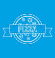 pizza restaurant label with ribbon icon vector image vector image