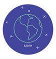 planet earth icon in thin line style vector image