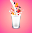 Pouring milk into glass and falling fruits on pink vector image
