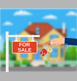 sale placard sign hand of agent with keys vector image vector image