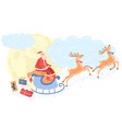 santa claus on reindeer carries gifts to children vector image vector image