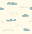 seamless pattern with hand drawn cute clouds vector image