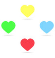 set of colored icons yellow hearts blue red and vector image vector image