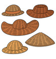 set of straw hat vector image