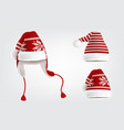 set of three knitted santa hats with pattern vector image