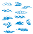 set wave symbols vector image