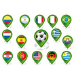 Seto of flag pointers with soccer football motif vector image vector image