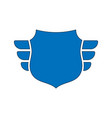 Shield blue icon outline shield simple wings