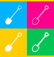 shovel to work in the garden four styles of icon vector image