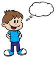 smiling boy with thought bubble vector image vector image