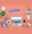 top view set of office workplace vector image vector image