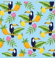 toucan with pineapple and tropical flowers vector image vector image