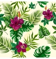 Tropical plants flowers seamless pattern vector image vector image