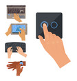 users hands on keyboard computer touch gestures vector image vector image