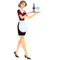 Waitress with tray vector image vector image