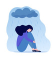young depressed woman sitting under metaphoric vector image