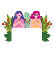 young women with flowers portrait cartoon vector image vector image