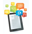 e-learning concept - electronic book - vector image