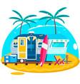 tropical sunset travel trailer caravans surfing vector image