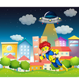 A superhero and a saucer near the buildings vector image vector image