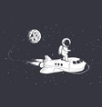 astronaut fly on space shuttle from the moon vector image vector image