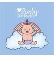 bashower happy little girl rainbow cloud vector image