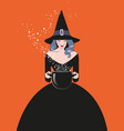 beautiful witch wearing hat and black dress vector image