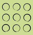 black hand drawn highlight circle set vector image