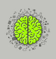 brain green icons on a white background vector image