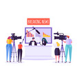 breaking news tv studio mass media characters vector image