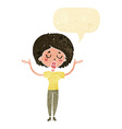 cartoon peaceful woman with speech bubble vector image