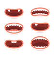 cartoon style mouths set on white background vector image vector image