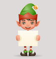 christmas poster advert broadsheet elf boy santa vector image vector image