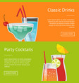 classic drinks party cocktails set of web posters vector image vector image