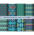 collection pixel bright seamless patterns vector image vector image