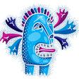 cool cartoon crazy blue monster simple weird vector image vector image